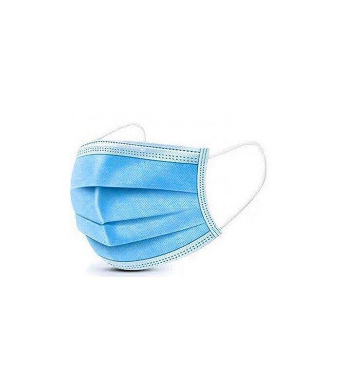 Medicīniskā aizsargmaska Type I,  17.5 cm x 9.5cm, 3 slāņi, gaiši zila BFE 97% 50 gab