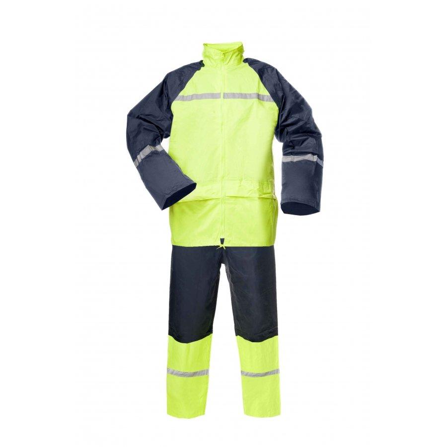 Lietus apģērbs Komplekts pārklāts ar PVC, tumši dzeltens