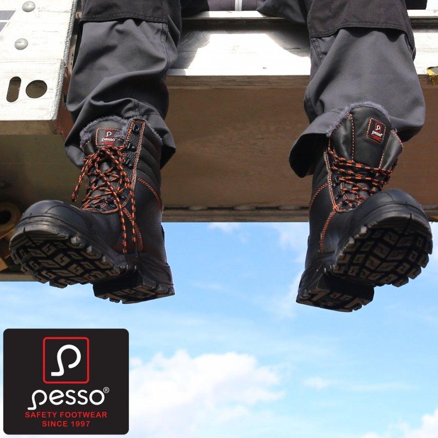 Dabīgas, izturīgas ādas ziemas drošības zābaki Pesso B659 S3 Kevlar
