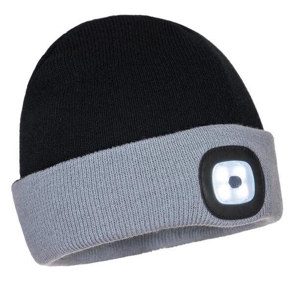Portwest cepure  B034 ar USB uzlādējamu LED gaismu, melna/pelēka