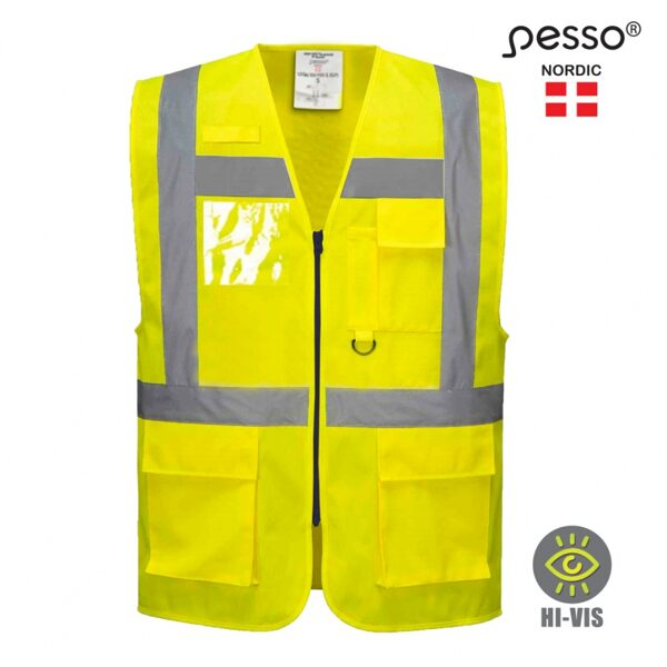 Augstas redzamības veste Pesso, dzeltena