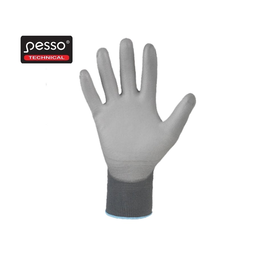 Darba cimdi Pesso PU-EKO, daļēji iemērkti PU |